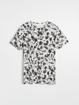 Mens Mickey Mouse T-Shirt Ivory | Reserved T-Shirts