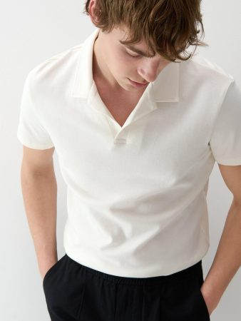 Mens Minimalist Style Polo Shirt Ivory | Reserved Polo Shirts