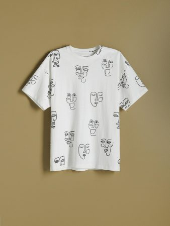 Mens Printed T-Shirt Ivory   Reserved T-Shirts