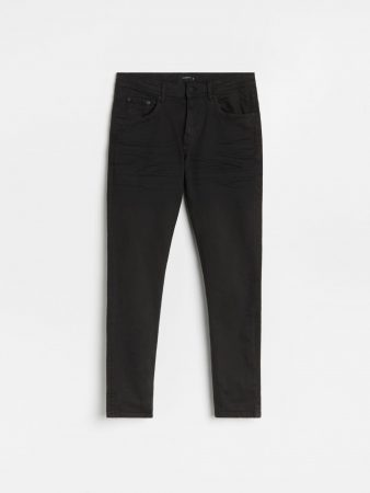 Mens Skinny Jeans With Wash Effect Black | Reserved Trousers