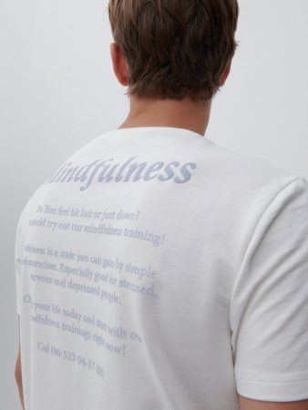 Mens T-Shirt With Back Slogan Ivory   Reserved T-Shirts