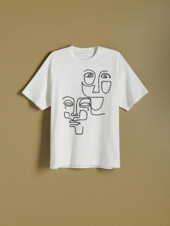 Mens T-Shirt With Embroidery Ivory   Reserved T-Shirts