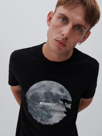 Mens T-Shirt With Print Black   Reserved T-Shirts