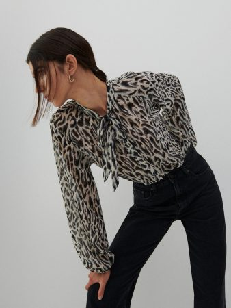 Womens Animal Print Blouse Multicolor | Reserved Blouses