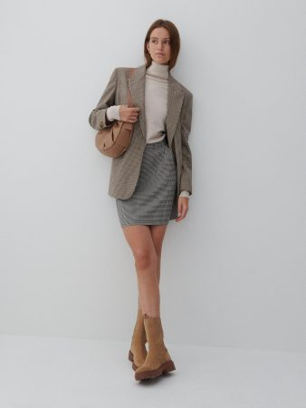 Womens Checked Mini Skirt Brown | Reserved Skirts