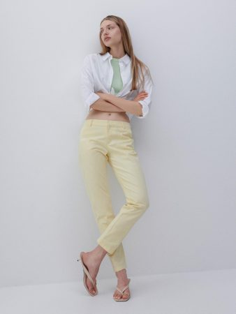 Womens Chino Trousers With Belt Yellow | Reserved Trousers