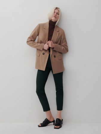 Womens Cigarette Pants With Belt Khaki   Reserved Trousers