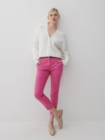 Womens Cigarillos With A Belt Pink | Reserved Trousers