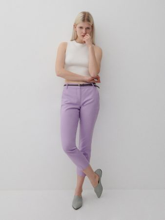 Womens Cigarillos With A Belt Purple | Reserved Trousers