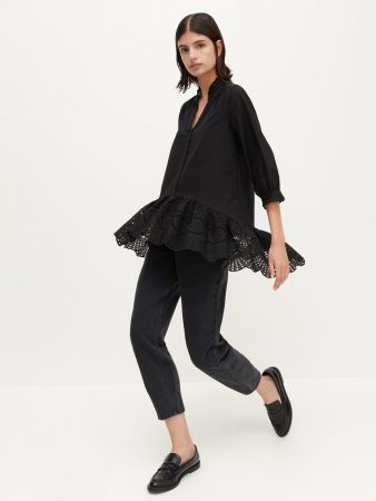 Womens Cotton Blouse With Flounce Black | Reserved Blouses