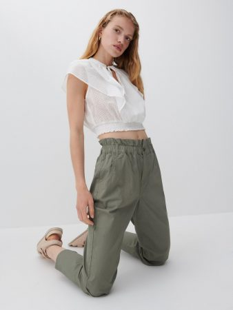 Womens Cotton Rich Trousers Khaki   Reserved Trousers