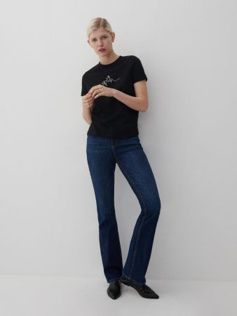 Womens Cotton T-Shirt With Print Black   Reserved T-Shirts, Tops
