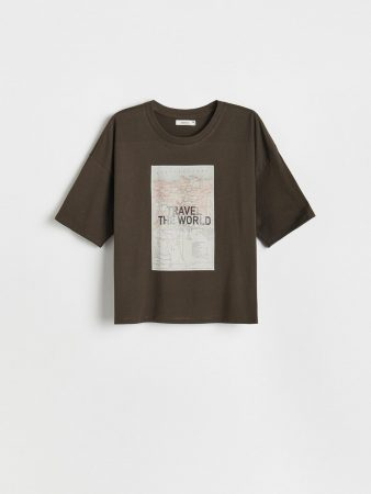Womens Cotton T-Shirt With Print Grey | Reserved T-Shirts, Tops