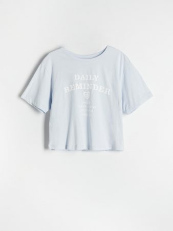 Womens Cotton T-Shirt With Script Blue | Reserved T-Shirts, Tops