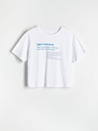 Womens Cotton T-Shirt With Script White   Reserved T-Shirts, Tops