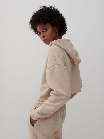Womens Cropped Structural Jersey Hoodie Beige | Reserved Sets, Co-Ords