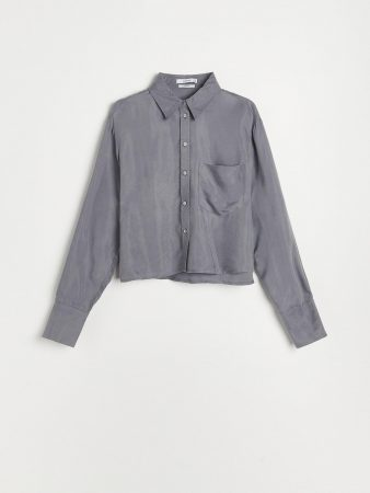 Womens Cupro Rich Shirt With Viscose Blend Grey | Reserved Sets, Co-Ords