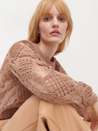 Womens Decorative Lace Blouse Beige   Reserved Blouses