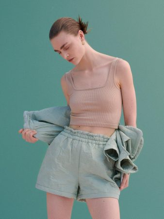 Womens Decoratively Textured Shorts Green | Reserved Sets, Co-Ords