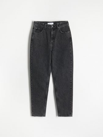 Womens Distressed Mom Fit Jeans Black | Reserved Jeans