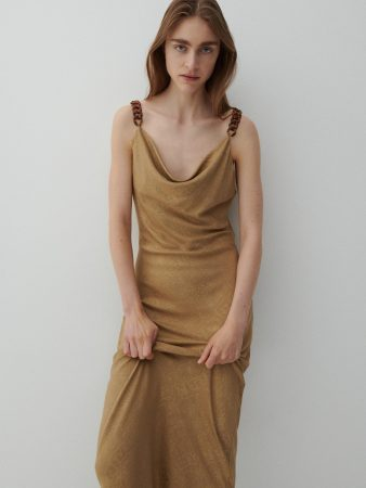 Womens Dress With Decorative Straps Brown   Reserved Dresses, Jumpsuits