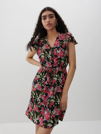Womens Dress With Ruffle Sleeves Multicolor | Reserved Dresses, Jumpsuits