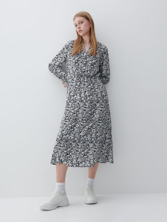 Womens Ecovero™ Patterned Dress Blue | Reserved Dresses, Jumpsuits