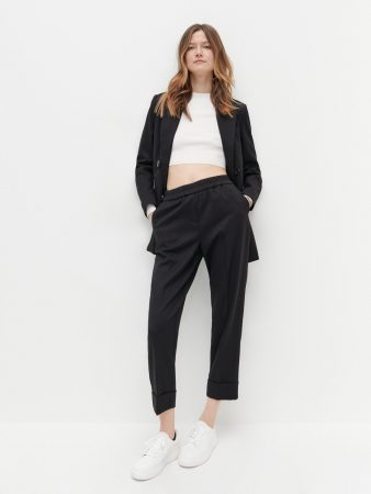 Womens Elastic Waist Suit Trousers Black   Reserved Suits