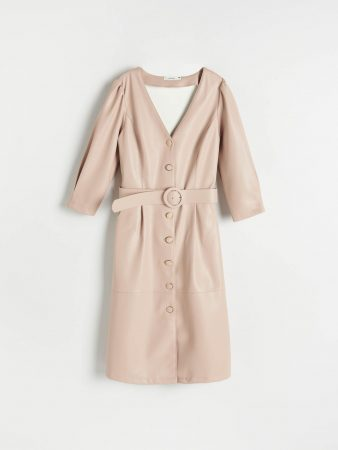 Womens Faux Lather Dress Beige   Reserved Dresses, Jumpsuits
