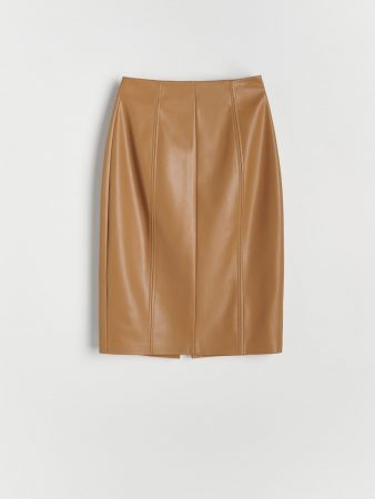 Womens Faux Leather Skirt Beige | Reserved Skirts