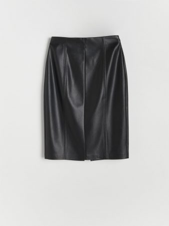 Womens Faux Leather Skirt Black | Reserved Skirts