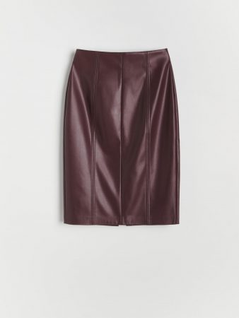 Womens Faux Leather Skirt Burgundy | Reserved Skirts