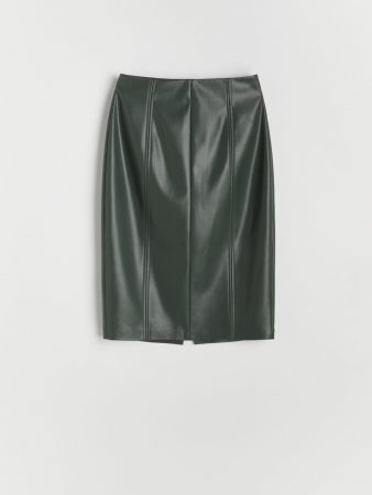Womens Faux Leather Skirt Green | Reserved Skirts