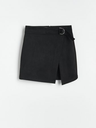 Womens Faux Suede Mini Skirt Black | Reserved Skirts