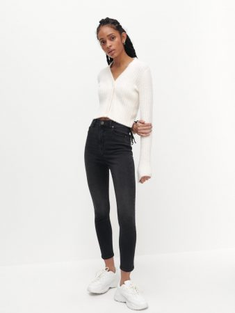Womens High Waist Slim Jeans Grey | Reserved Jeans