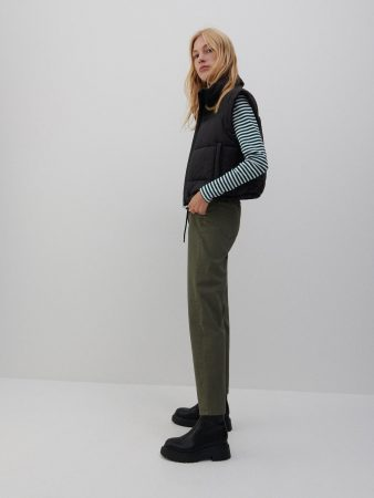 Womens High Waisted Trousers Khaki   Reserved Trousers