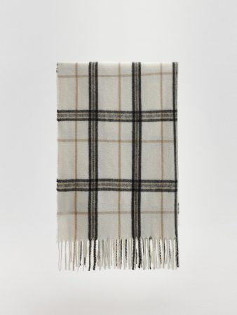 Womens Long Check Scarf Ivory   Reserved Hats, Scarves, Gloves