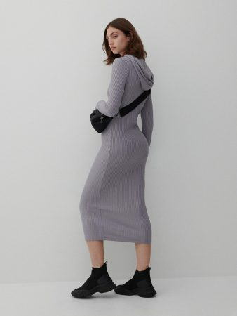 Womens Midi Dress With Hood Silver | Reserved Dresses, Jumpsuits