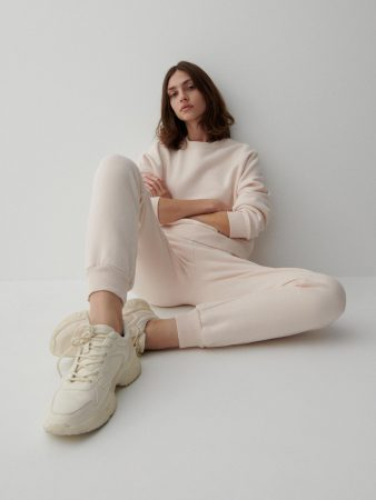Womens Organic Cotton Rich Trousers Ivory | Reserved Trousers