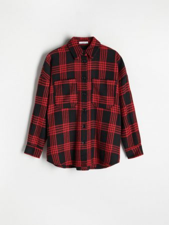 Womens Oversize Checked Shirt Red | Reserved Shirts