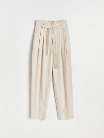 Womens Paperbag Trousers Ivory   Reserved Trousers