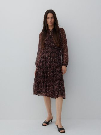 Womens Patterned Midi Dress Multicolor | Reserved Dresses, Jumpsuits