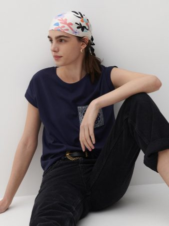 Womens Printed T-Shirt Navy | Reserved T-Shirts, Tops