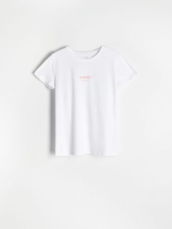 Womens Printed T-Shirt White | Reserved T-Shirts, Tops