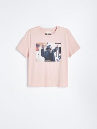 Womens Pulp Fiction Print T-Shirt Pink | Reserved T-Shirts, Tops