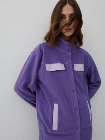 Womens Recycled Fabric Fleece Jacket Purple | Reserved Coats, Jackets, Puffer Jackets