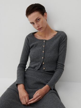 Womens Rib Knit Jersey Blouse Grey | Reserved Blouses