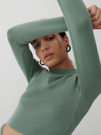 Womens Rib Knit Jersey Blouse Turquoise | Reserved Sets, Co-Ords