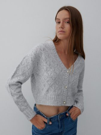 Womens Short Cardigan Light Grey | Reserved Jumpers, Cardigans