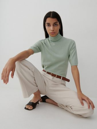 Womens Short Sleeve Turtleneck Turquoise | Reserved Jumpers, Cardigans
